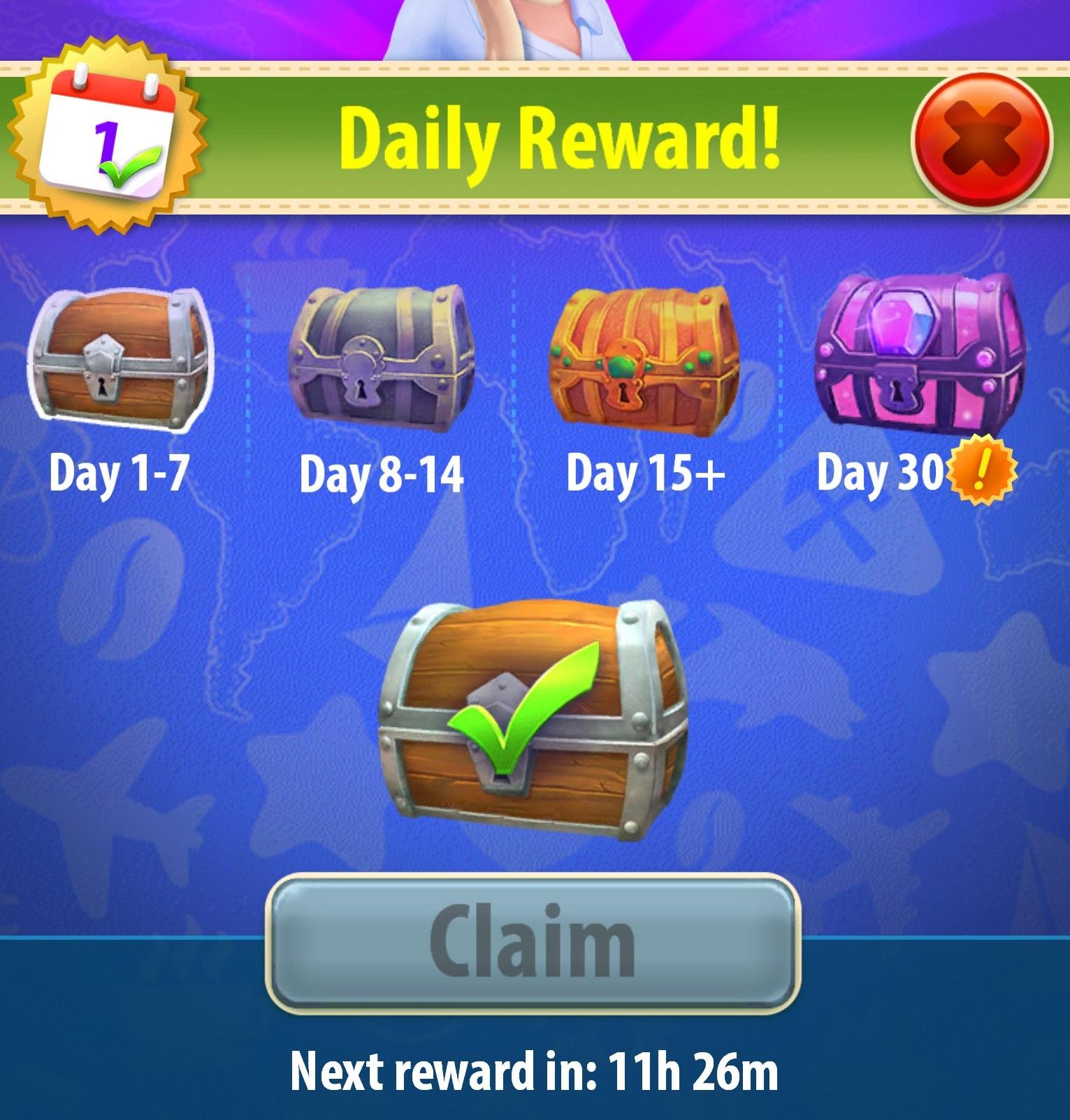 Daily rewards (treasure chests) – Gummy Drop!